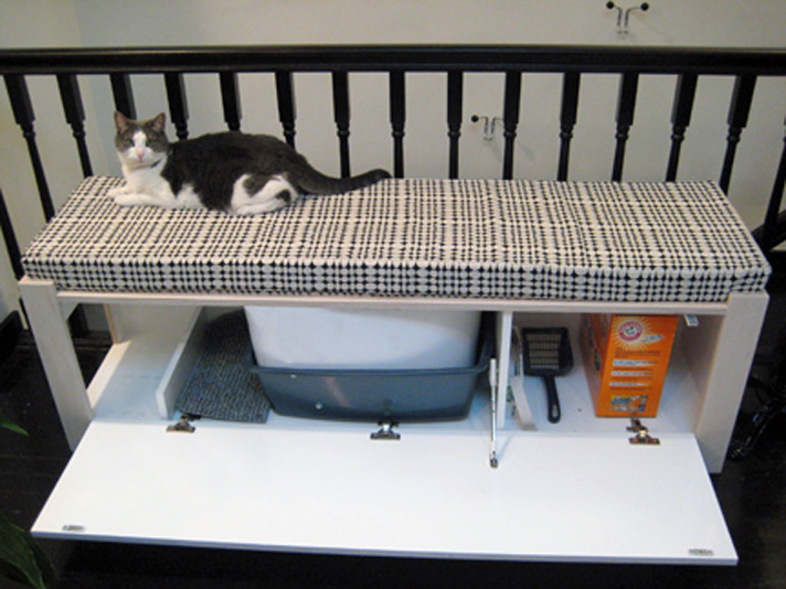 Hiding Cat Litter Boxes Using A Bench
