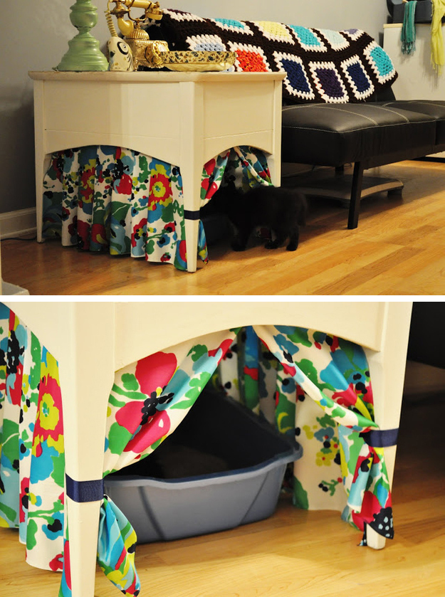 Hiding Cat Litter Boxes Using End Table